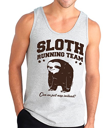 Sloth Running Team. Can We Just Nap Instead? Funny Tank Top, Silver, Medium