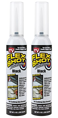 Flex Shot Rubber Adhesive Sealant Caulk, 8-oz, Black (2 Pack)