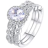 Newshe Jewellery Engagement Sets Wedding Rings for Women 925 Sterling Silver 3pcs White Cz Size 10
