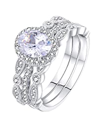 Newshe Jewellery 3pcs White CZ 925 Sterling Silver Wedding Ring Set Engagement Ring Sets Size 5-10