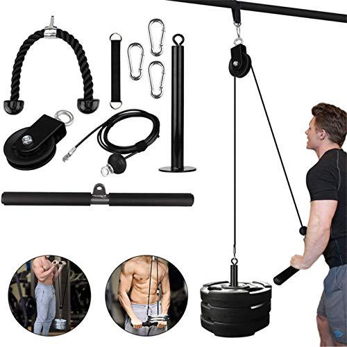 NSXIN Onderarmtrainer, pols, armspieren training, touw, fitness, riemschijf voor thuis, gym, tricepstouw…