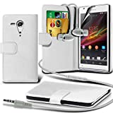 ONX3® ( White ) Sony Xperia SP Book Style PU Leather Wallet Card Flip Case Skin Cover W/ Screen Protector Guard & Aluminium In Ear Earbud Stereo Hands Free Headphones Earphone Headset