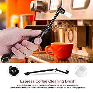 BagTu Coffee Machine Cleaning Brush with Spoon Tool Set for Espresso Machine Group Head,Pack of 3,Black from BagTu