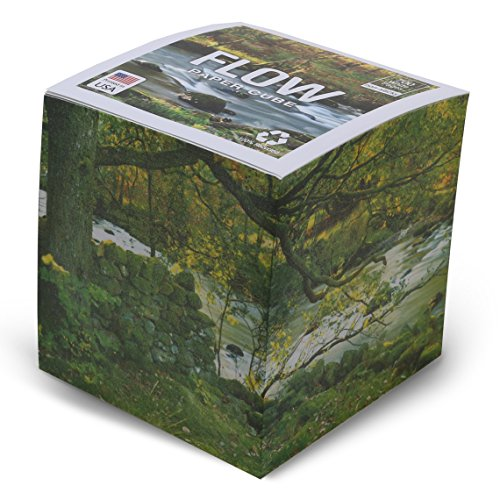 EARTHCUBE (Flow Design) Blank White 3.5 Inch Note Cube (Not Sticky) Made in USA (Paper US or CAN) 100% Recycled 700 Tear-Off Pages (Not - Note Bradley Vera Cube