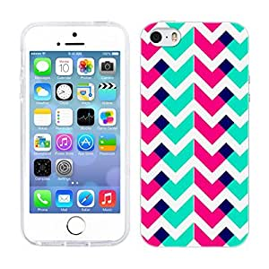 Head Case Designs Pink And Teal Neon Chevron Soft Gel Back Case Cover for Apple iPhone 5 5s