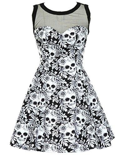 Feel Show Women's Round Neck Skull Print Mini Dress A-Line Dress Party (Skull Print Mini)