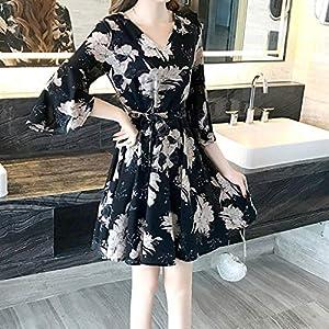 Celucke Women Casual Loose Fit A-Line Dress, Floral Print 3/4 Sleeve Knee Length Dresses Cotton Linen Elegant Dresses