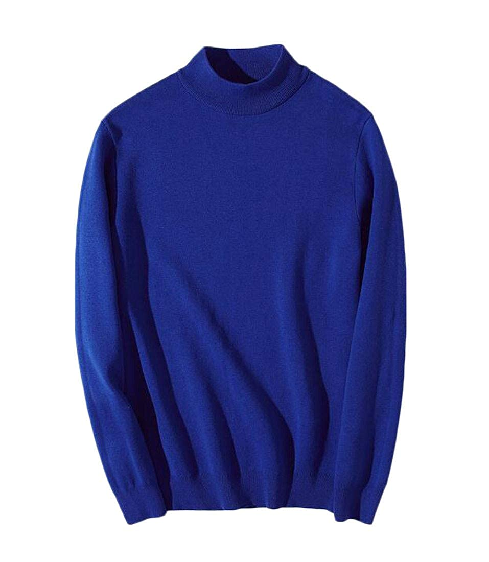 Macondoo Mens Knitted Basic Mock Neck Solid Jumper Pullover Sweater