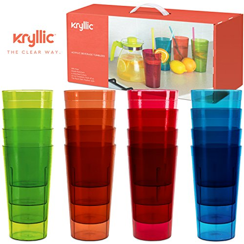 Plastic Tumblers Drinkware Glasses Cups - Acrylic Tumbler Set of 16 Break Resistant 20 oz. in 4 Assorted Colors Restaurant Quality Tumblers Dishwasher Safe and BPA Free by Kryllic