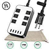 Power Strip - 6-Outlet Surge Protector with 5 USB Ports Fast Charging (4.8A), 6.5ft 18AWG Long Extension Cord, Adjustable Voltage 110-240V for iPhone iPad Home Indoor Office Laptop Computer UL Listed