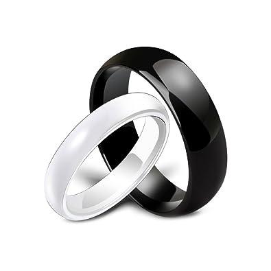 BOBIJOO Jewelry - Alliance Bague Anneau Céramique Noire ou Blanche Mariage  Fiançaille Couple Au Choix - 2b5ca2ad39c4