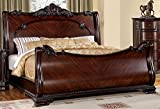 247SHOPATHOME IDF-7277Q Sleigh-Beds, Queen, Cherry