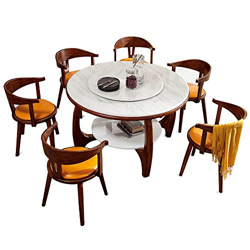 Dinettes Set Modern (Modern Luxury Kitchen Dinette Set Contains One Marble Dining Table and Six Chairs, Walnut Wood)