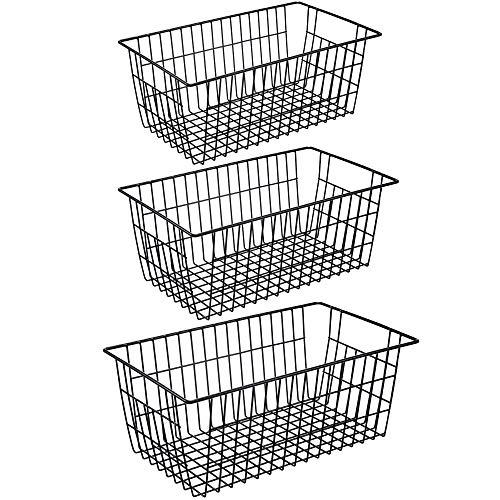 iPEGTOP Metal Wire Stroage Baskets, Large Farmhouse Organizer Bins, Home Office Shelf Freezer Storage for Bathroom…