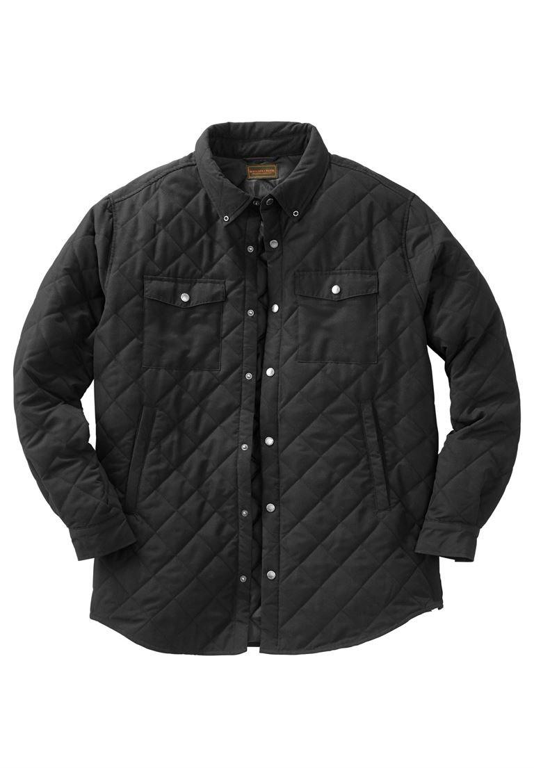 Boulder Creek Men's Big & Tall Quilted Shirt Jacket, Black Tall-XL