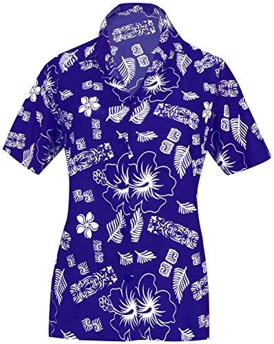 LA LEELA Womens Summer Beach Blouse Button Down Relaxed Camp Casual Shirt Flora Blue