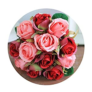 Artfen Artificial Rose Flowers Simulation Rose Wedding Bouquets Fake Floral Rose Flower Silk Flower Hand Tied Bouquet Red