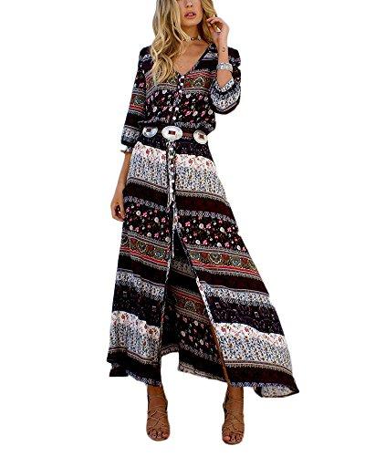 Bohemia Manga de v Vestido cuello largo 6 Vintage con Marrón playa Maxi Vestido larga Mujer floral en para Vestido tWwzqPP8