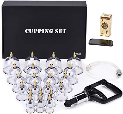 Cupping Set Professional Chinese Acupoint Cupping Therapy Sets, Suction Hijama Cupping Set with Vacuum Magnetic Pump Cellulite Cupping Massage Kit 22-Cup
