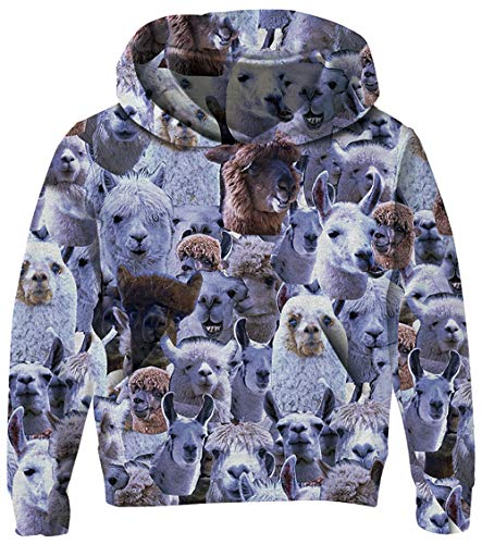 UNICOMIDEA Teenager Sweatshirt Boys 3-4T Hooded Sweater Funny Alpaca Expression Pattern Cool Pullover Long-Sleeve with Kangaroo Pocket