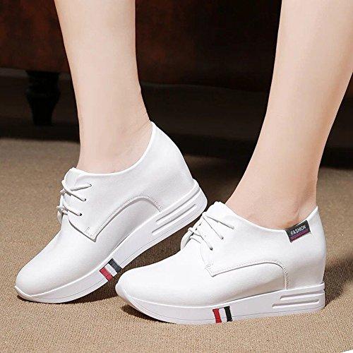 Ciabatta Donna Wedge Casual Sneaker Lace-up Aumentare Altezza Moda Metà Superiore Scarpe Da Viaggio Bianco