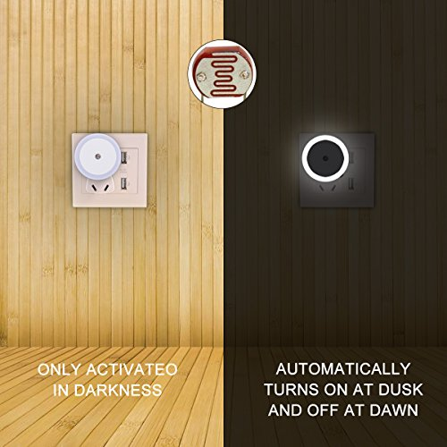 WEDNA 0.5W Plug-in LED Night Light Lamp with LDR Sensitive Light Sensor Automatic On / Off, Ideal for Bedroom, Bathroom, Hallway 6-Pack (Round)