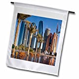 3dRose Danita Delimont - Cities - UAE, Abu Dhabi. Etihad Towers and Emirates Palace Hotel fountains - 18 x 27 inch Garden Flag (fl_277135_2)