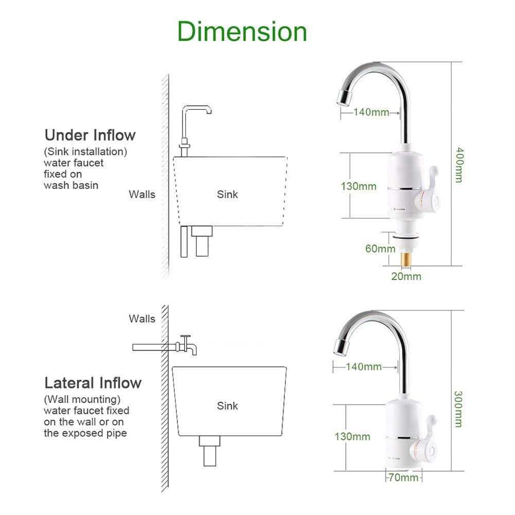 Majome 1 unids Grifo el/éctrico del Grifo instant/áneo Calentador de Agua Caliente para el ba/ño en casa Cocina est/ándar de la UE