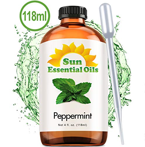 Best Peppermint Oil (Large 4 Oz) Aromatherapy Essential Oil for Diffuser, Burner, Topical Useful for Hair Growth, Mice, Rodents Repellent, Headaches Skin Home Office Indoor Mentha Piperita Mint Scent (Best Place To Get Essential Oils)