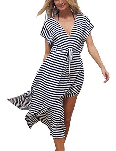 (Ailunsnika Stripe Casual Long Beach Dress Cover Ups Women Short Sleeve Swimwear Kaftan Swimsuit Cover up Dresses)