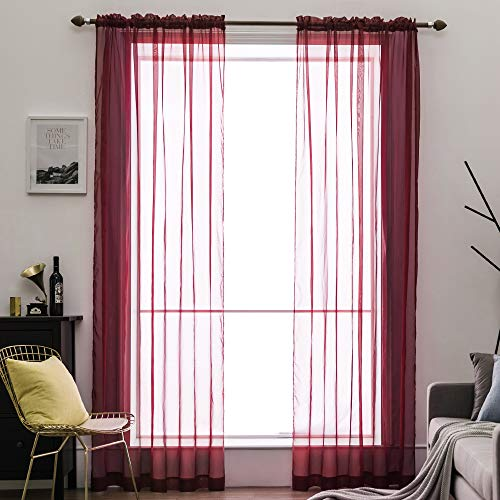 MIULEE 2 Panels Solid Color Sheer Window Curtains Elegant Window Voile Panels/Drapes/Treatment for Bedroom Living Room (54X90 Inches Wine - Wine 90