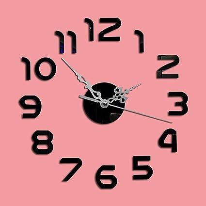 bbslt-bricolage espejo relojes, acrílico silencioso Bell manualidades adhesivo, decorado del reloj Digital