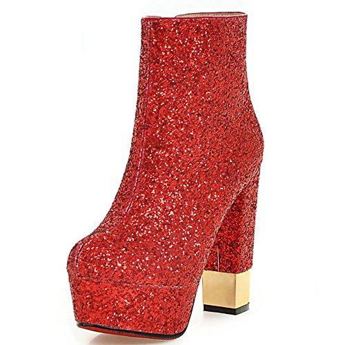 Kaloosh Women's Glitter Fabric Pointed Toe Square High Heel Platform Ankle Boots Red