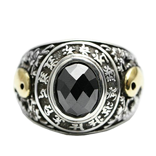Beydodo Mens Silver Ring, Two Dragon Taichi Ring Size 8 Silver Ring for Men Hip Hop by Beydodo