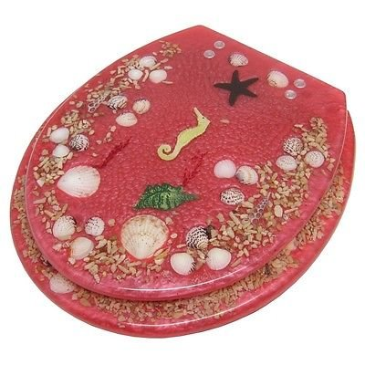 SEASHELL AND SEAHORSE RESIN TOILET SEAT - STANDARD SIZE, ROS