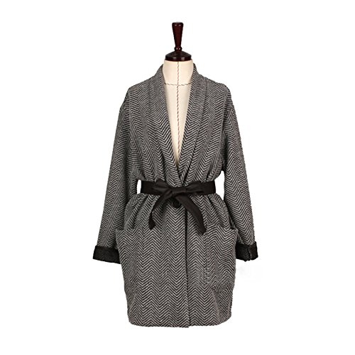 Belt Women Collar Long DYF Medium length Pocket sleeve V Cardigan Grey Coat 0Iwxxdqa
