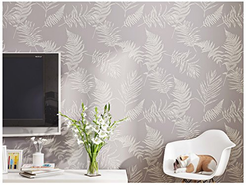 Nice Houzz Modern Wallpaper Elegant Purple Leaves Removable Home Décor For  Living Room,Bedroom,Girls Room,Lilac Plant Wall Paper