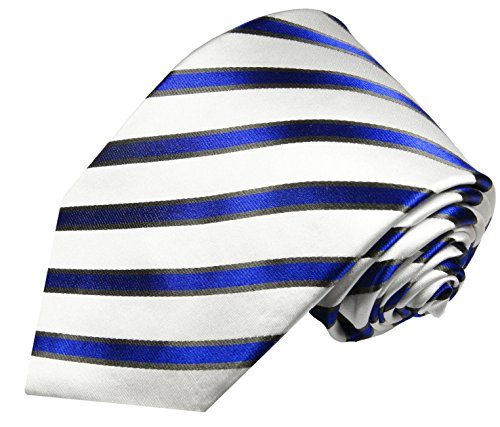 Cravate bleu rayé ensemble de cravate 3 Pièces ( 100% Soie Cravate + Mouchoir + Boutons de manchette )