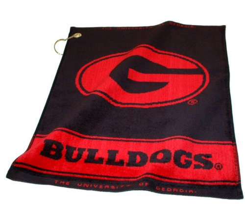 NCAA Georgia Bulldogs Jacquard Woven Golf Towel (Golf Bulldogs Georgia)