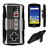 LG Optimus Zone 3 / LG Spree / LG K4 Case, DuroCase Dual Layer Combat Armor Style Kickstand Case w/ Belt Clip Holster for LG Optimus Zone 3/ LG Spree/ LG K4 – (Game Controller) For Sale