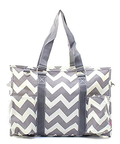 N Gil All Purpose Organizer Medium Utility Tote Bag  Chevron Grey Grey
