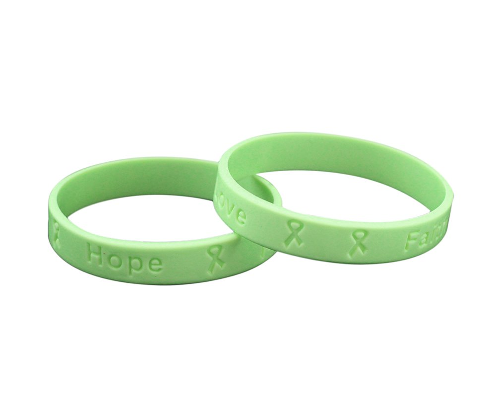 Fundraising For A Cause 50 Pack Light Green Silicone Bracelets - Adult Size (Wholesale Pack - 50 Bracelets)