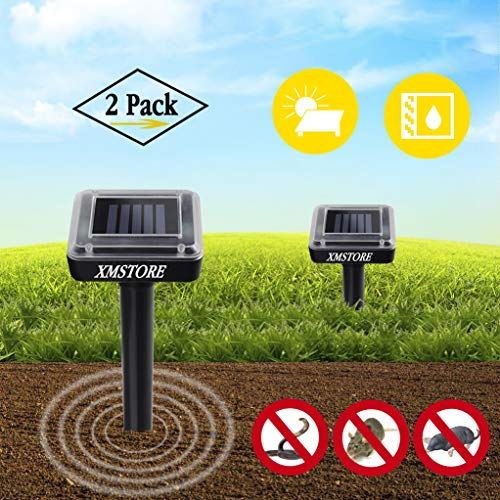 XMSTORE Solar Powered Mole Repellent, Waterproof Powerful Outdoor Sonic Pest Control for Getting Rid of Rodents Vole Snakes Mice Rats Fast on Yard Lawn Garden