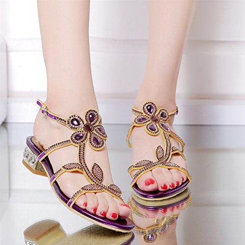 A amp; Women's Comfort 44 Leather Party Heel Sandals Heel Size Dress Toe Color Evening Open Summer Rhinestone Flat Casual Low OSOTrq