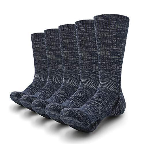 Petrala Mens Hiking Socks Medium Moisture Breathable Thick Cotton Ankle Padded Elastic All Dark Blue Sock 5 Pack
