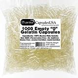 PharmaCapsules USA Empty Gelatin Capsules (0, Quantity 1000)