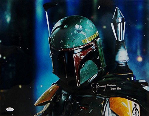 Jeremy Bulloch Boba Fett Signed Star Wars 16x20 Dark Close Up Photo- JSA Auth Silver
