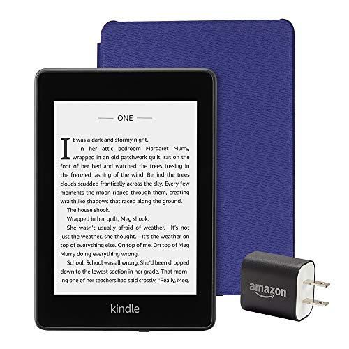 All-new Kindle Paperwhite Essentials Bundle including Kindle Paperwhite 8GB - Wifi with Special Offers, Amazon Leather Cover - Cobalt Purple, and Power Adapter
