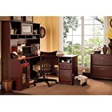 "Bush Cabot 60"" L-Shaped Computer Desk with Hutch and File Cabinet in Harvest Cherry"