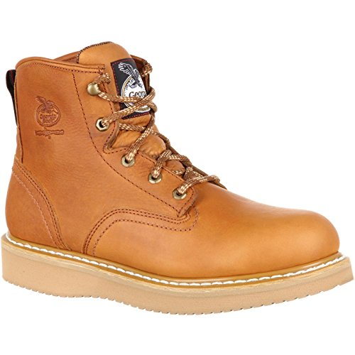 Georgia Men's 6'' Wedge Work Boot, Barracuda Gold, 8.5 W US